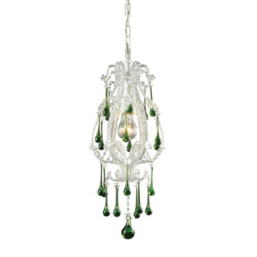 Opulence Antique White One-Light Mini Pendant with Lime Crystals