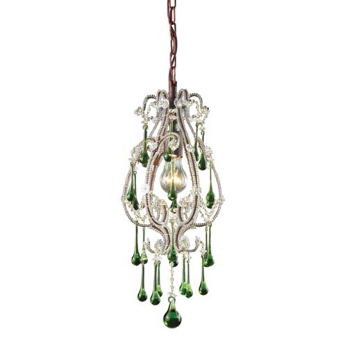 Opulence Rust One-Light Mini Pendant with Lime Crystals