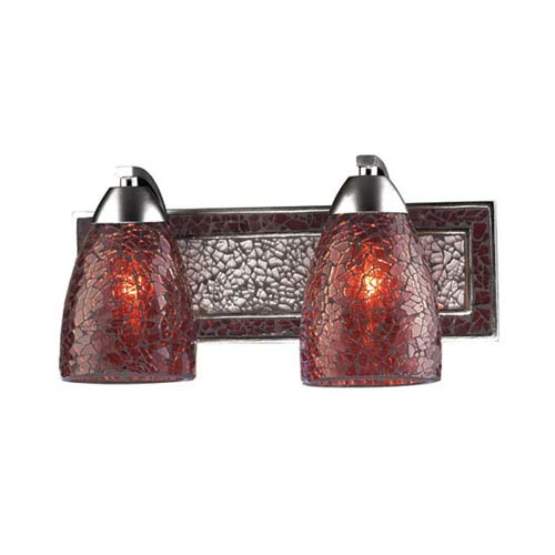 Vanity Silver Red Crackle Two-Light Sconce
