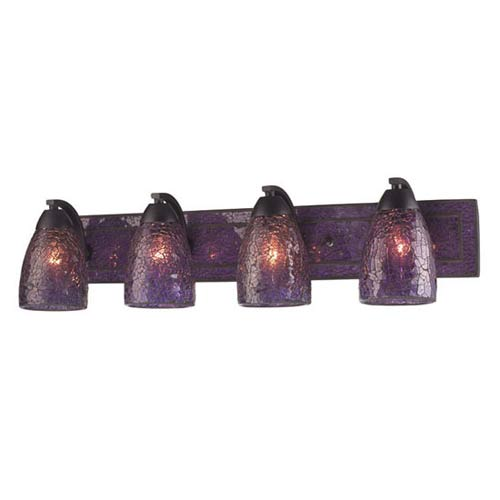 Vanity Rust Purple Crackle Four-Light Bath Fixture