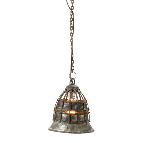 Fortress Distressed Silver One-Light Eight-Inch Mini Pendant