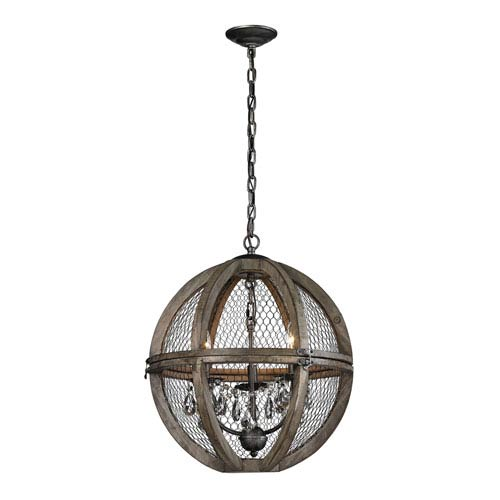 Renaissance Invention Aged Wood Three-Light 18-Inch Pendant