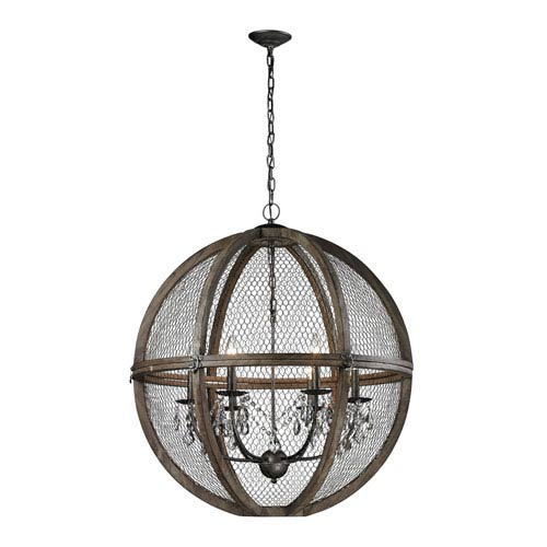 Renaissance Invention Aged Wood Six-Light 30-Inch Pendant