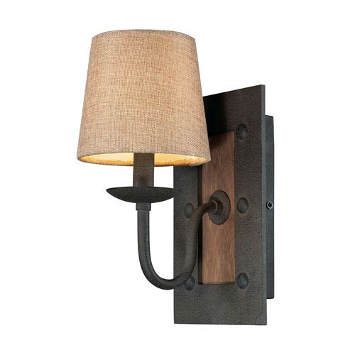 Elk Lighting Early American One Light Sconce In Colonial Maple And Vintage Rust