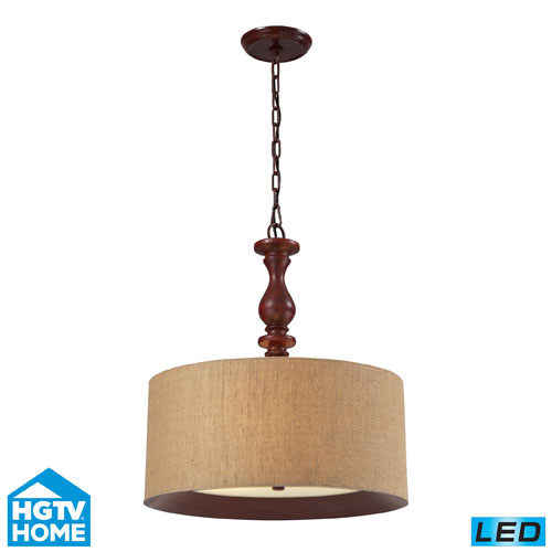 Elk Lighting Nathan Three Light LED Pendant In Dark Walnut