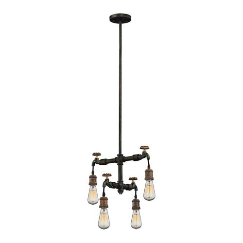 Jonas Weathered Multitone 18-Inch Four-Light Chandelier