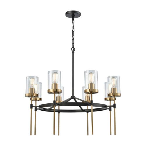 Elk Lighting North Haven Oil Rubbed Bronze and Satin Brass 31-Inch Eight-Light Chandelier