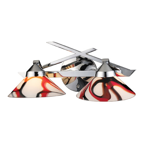 Elk Lighting Refraction Two-Light Wall Bracket in Polished Chrome and Creme White Glass