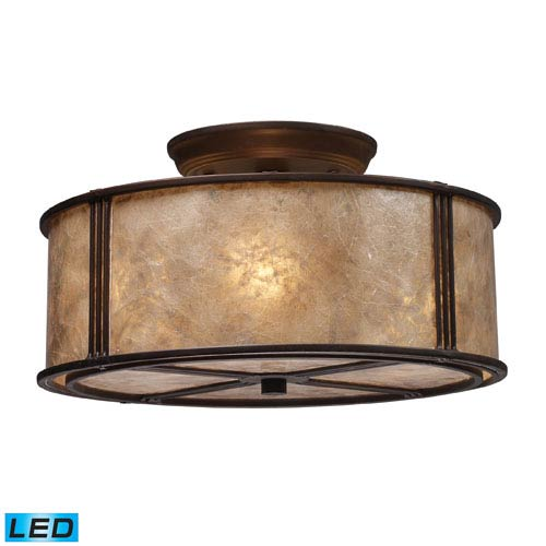 Elk Lighting Barringer Three Light LED Semi-Flush In Aged Bronze And Tan Mica Shade
