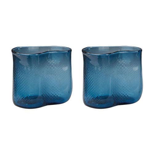 Fish Net Navy Blue Vases - Set of Two