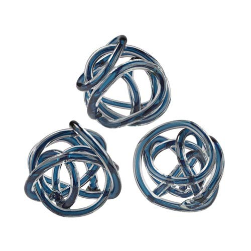 Glass Knots Navy Blue Six-Inch Sculptures - Set of Three