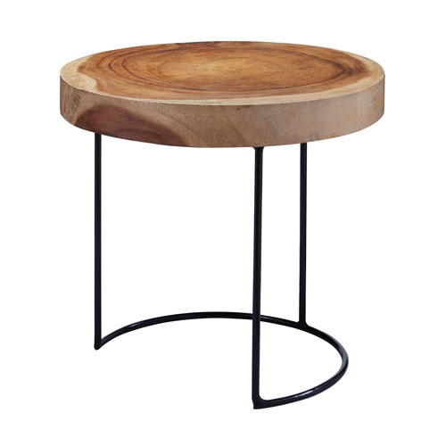 Wood Slab Natural Accent Table