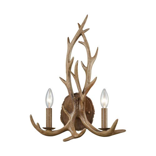 Elk Wood Brown Two-Light Wall Sconce