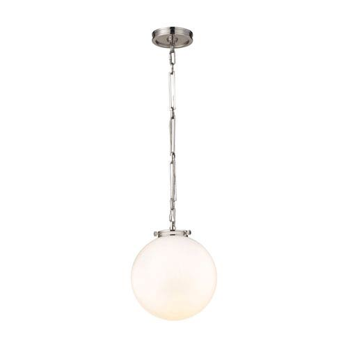 Gramercy Polished Nickel 11-Inch One-Light Pendant with Opal White Glass