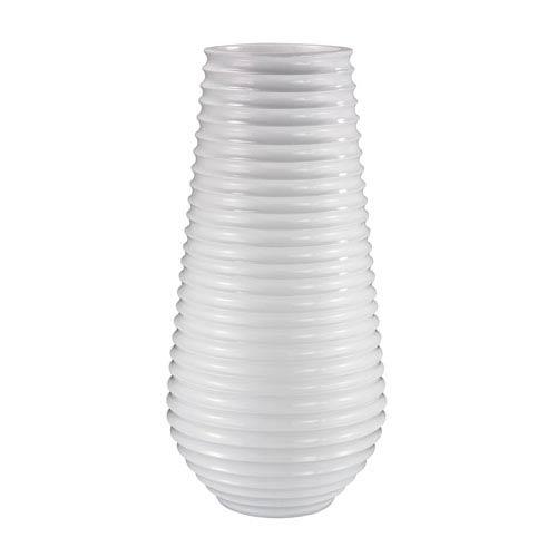 Ribbed Planter Gloss White Vase