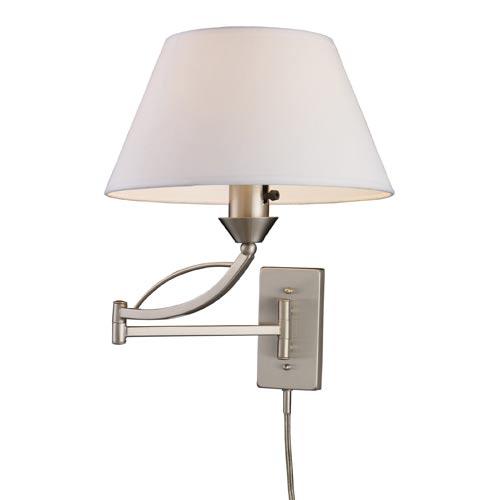 Elysburg Satin Nickel One-Light Plug-In Swing-Arm Sconce