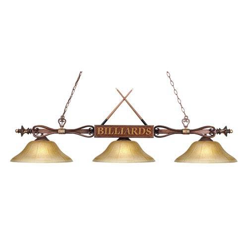 Elk Lighting Designer Classics Wood Patina 9-Inch Three Light Billiard and Island