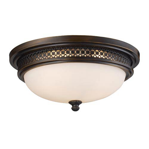 Deep Rust Three-Light Flush Mount