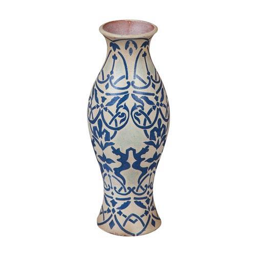 Handpainted European Blue Demask Vase