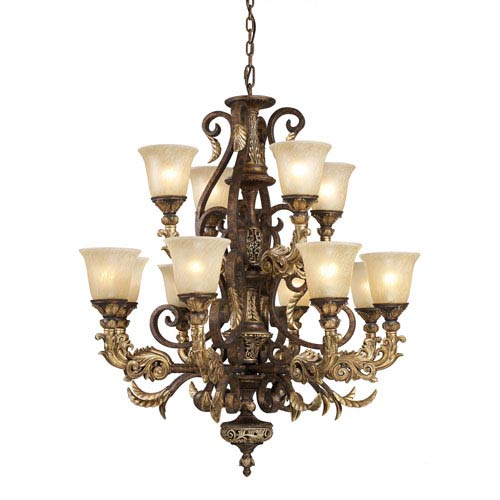 Regency Twelve-Light Burnt Bronze Chandelier
