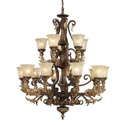 Elk Lighting Regency Fifteen-Light Burnt Bronze Chandelier