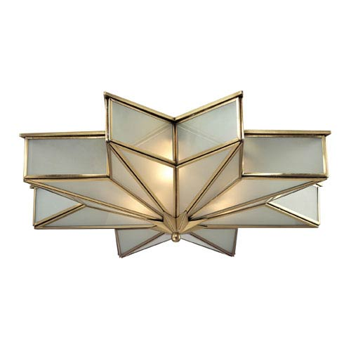 Elk lighting decostar brushed brass three light flush mount fixture elk lighting decostar brushed brass three light flush mount fixture aloadofball Image collections