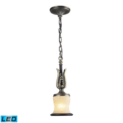 One Light LED Pendant In Antique Bronze & Dark Umber And Marblized Amber Glass