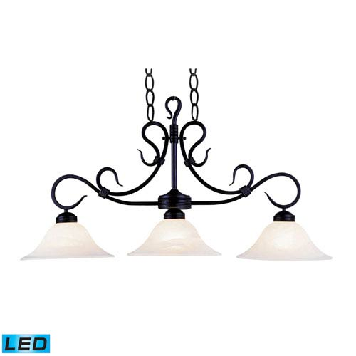 Elk Lighting Buckingham Matte Black 12-Inch LED Three Light Billiard and Island Light