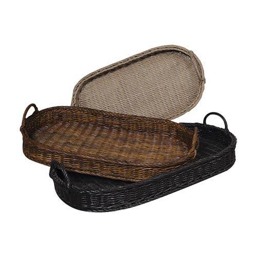 Handpainted Rattan Black Oval Trays - Set of Three