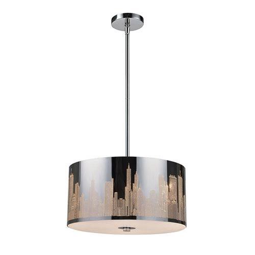 Skyline Polished Stainless Steel Three-Light Pendant