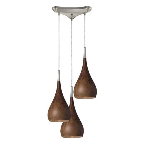 Lindsey Satin Nickel Three-Light Pendant with Burl Wood Shades