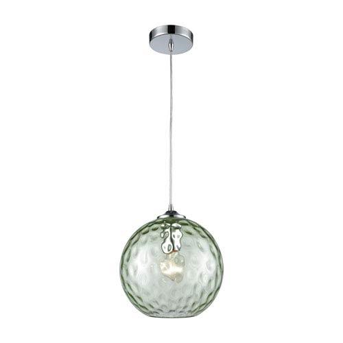 Elk lighting globe light fixture bellacor elk lighting watersphere polished chrome one light pendant with light green hammered glass aloadofball Image collections