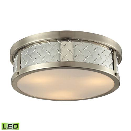 Elk Lighting Diamond Plate Brushed Nickel LED Three Light Flush Mount Fixture
