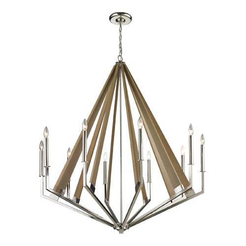 Elk Lighting Madera Polished Nickel 10-Light Chandelier