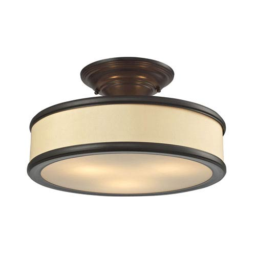 Clarkton Oil Rubbed Bronze Three-Light Semi Flush Mount