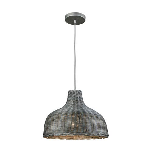 Pleasant Fields Weathered Gray 14-Inch One-Light Pendant with Graphite Hardware And Gray Wicker Shade