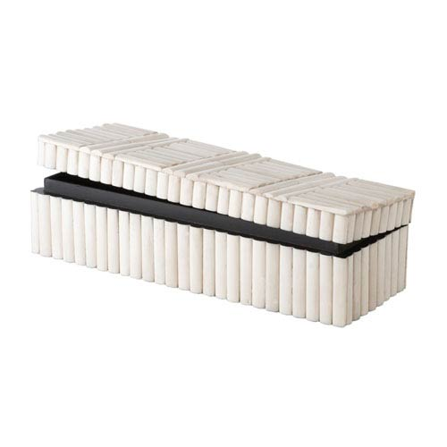 Bone Rod Patterned Cream Rectangular Box