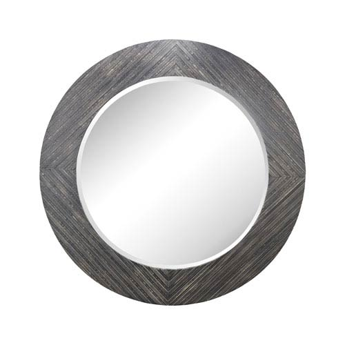 Black Wood Frame Round Mirror   Bellacor