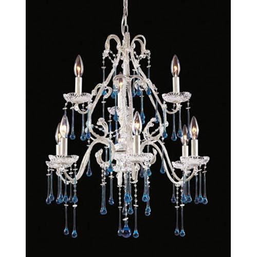 Opulence Antique White Aqua Crystal Nine-Light Chandelier