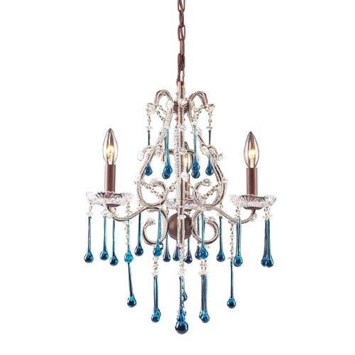 Opulence Rust Aqua Crystal Mini Chandelier