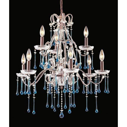 Opulence Rust Aqua Crystal Nine-Light Chandelier