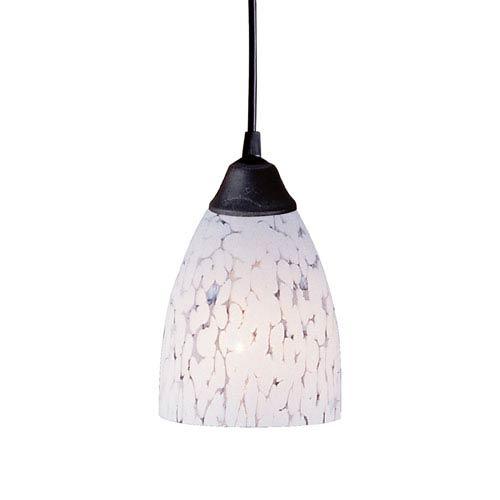 Elk Lighting Classico One Light LED Pendant In Dark Rust And Show White Glass