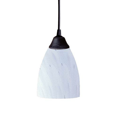 Classico One Light LED Pendant In Dark Rust And Simply White Glass