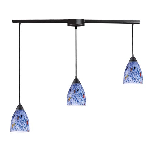 Classico Dark Rust Three-Light Mini Pendant with Starlight Blue Glass