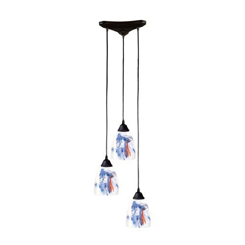 Classico Dark Rust Three-Light Mini Pendant with Mountain Glass