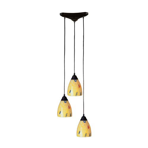 Classico Dark Rust Three-Light Mini Pendant with Yellow Blaze Glass