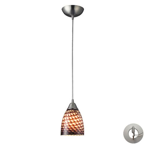 Elk Lighting Arco Baleno One Light Pendant In Satin Nickel And Coco Glass Includes w/ An Adapter Kit