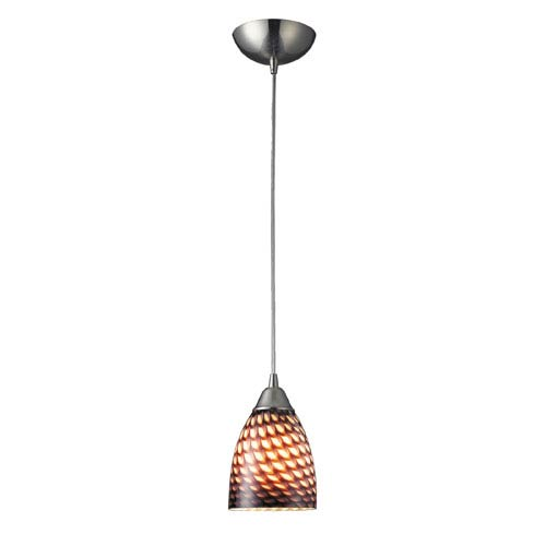 Elk Lighting Arco Baleno One Light LED Pendant In Satin Nickel And Coco Glass