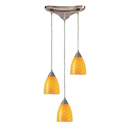 Elk Lighting Arco Baleno Satin Nickel Three-Light Mini Pendant with Canary Glass