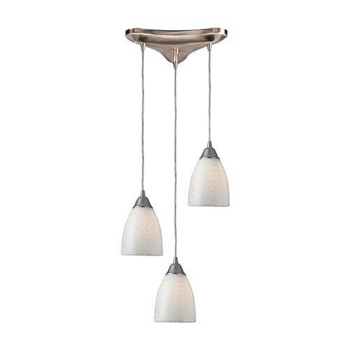 Arco Baleno Satin Nickel Three-Light Mini Pendant with White Swirl Glass